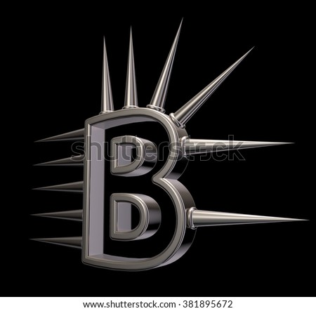 letter b with metal prickles on black background - 3d illustration - stock photo