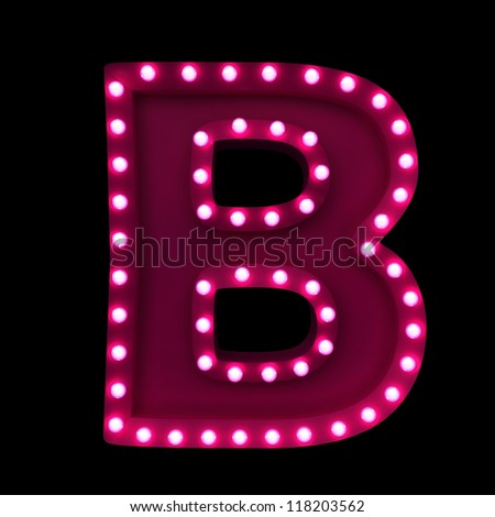 letter B with neon lights isolated on black background - stock photo