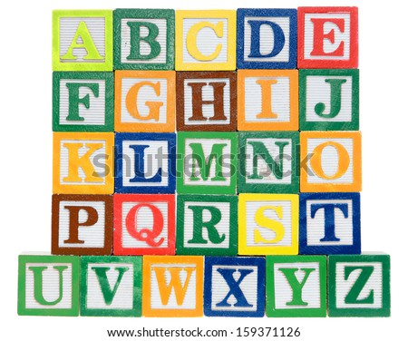 Letter blocks in alphabetical order. Isolated on a white background - stock photo