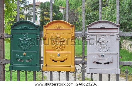Letter box mailbox for receiving incoming mail - stock photo