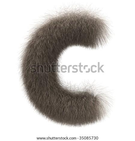Letter C from fur alphabet - stock photo
