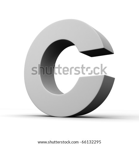 Letter C from solid alphabet. There is a clipping path - stock photo