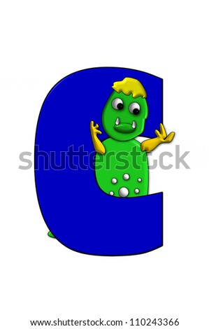 Letter C, in the alphabet set Dino, is decorated with a colorful cartoon dinosaur.  Dinosaur has fun 3D dots and eyes.