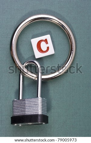 "Letter ""C"" in the middle of a metal circle attached to a lock."