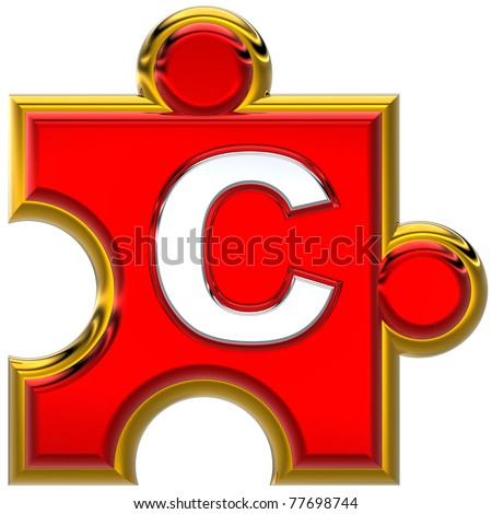 "Letter ""C"" on the red puzzle. Isolated on white background. - stock photo"
