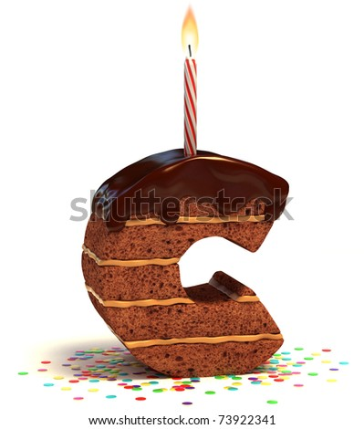 "letter ""C"" shaped chocolate birthday cake with lit candle and confetti isolated over white background"
