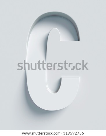 Letter C slanted 3d font engraved and extruded from the surface - stock photo
