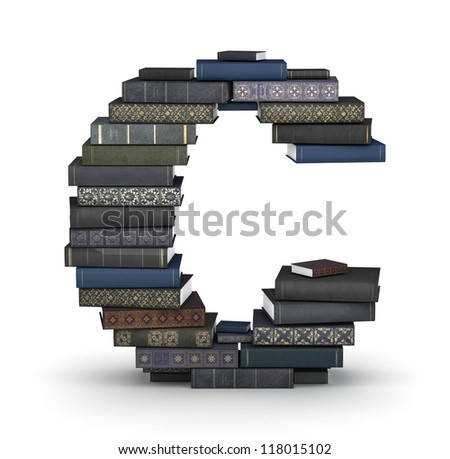 Letter C, stacked from many  books in pile - stock photo