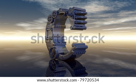 letter c under cloudy sky - 3d illustration