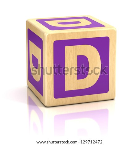 letter d alphabet cubes font - stock photo