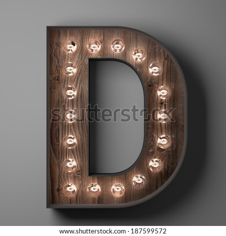 Letter D for sign with light bulbs - stock photo