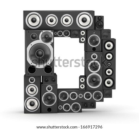 Letter D from black hi-fi speakers sound systems - stock photo