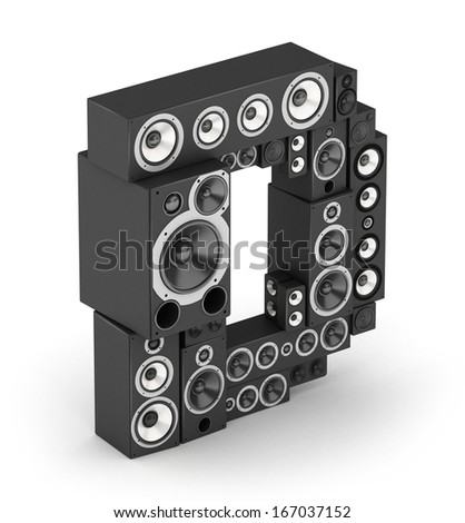 Letter D from black hi-fi speakers sound systems  in isometry - stock photo