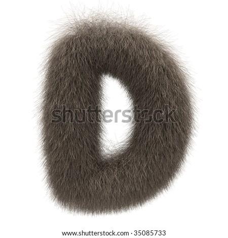Letter D from fur alphabet - stock photo