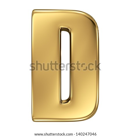 Letter D from gold solid alphabet.