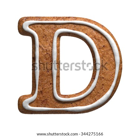 Letter D. Gingerbread font. Christmas cookies alphabet. - stock photo