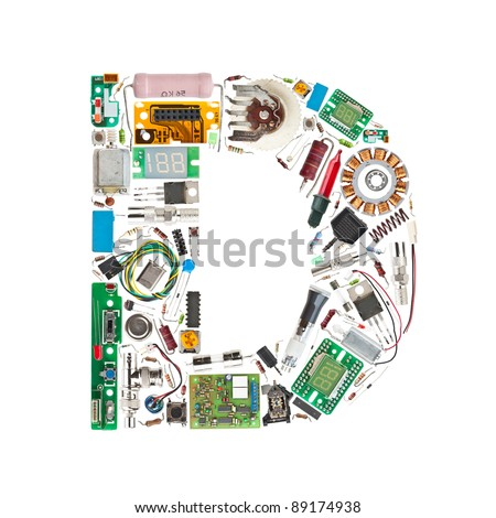 Letter 'D' made of electronic components isolated in white background - stock photo