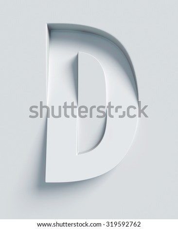 Letter D slanted 3d font engraved and extruded from the surface