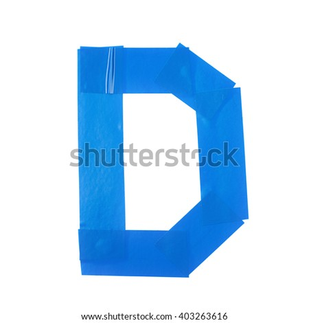 Letter D symbol made of insulating tape pieces, isolated over the white background - stock photo