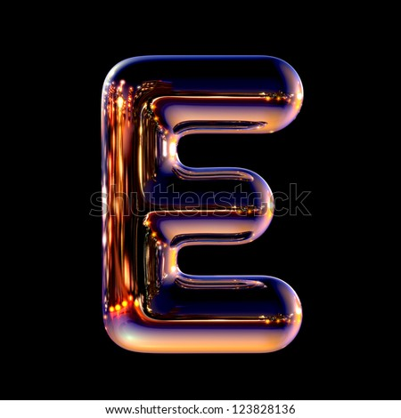 Letter E from chrome night city alphabet isolated on black - stock photo