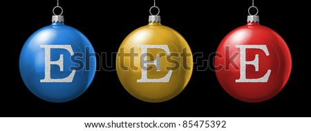 Letter E from cristmas ball alphabet. There is a clipping path - stock photo