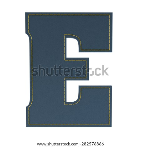 letter E from denim - jeans, on a white background, high specification of fabric, it is stitched by the yellow high-detailed threads - stock photo