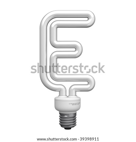 Letter E from lamp alphabet. There is a clipping path - stock photo