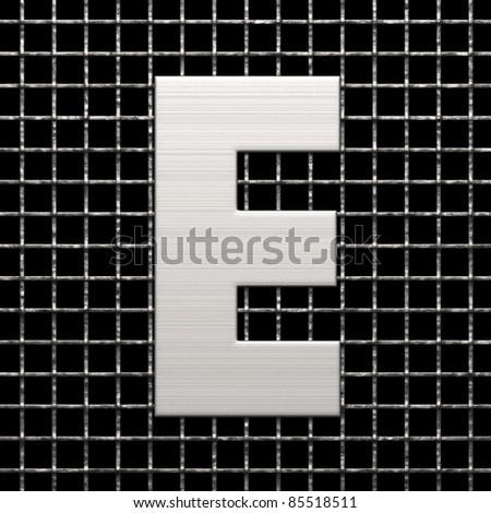 Letter E from metal net alphabet. There is a clipping path - stock photo