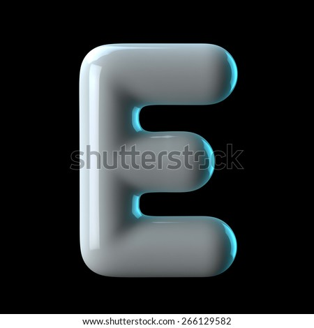 Letter E from round white blue light alphabet. There is a clipping path