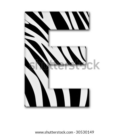 Letter E from the alphabet. Made of animal print. It has a clipping path. - stock photo