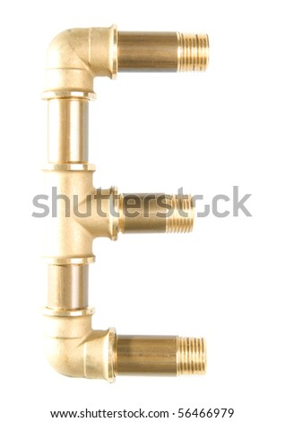 Letter E from water pipes - stock photo