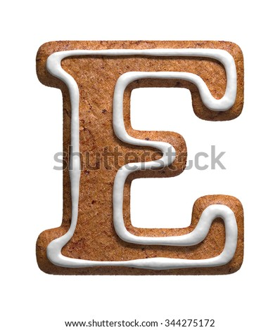 Letter E. Gingerbread font. Christmas cookies alphabet. - stock photo
