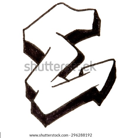 Letter E, hand drawn alphabet in graffiti style with a black fiber tip pen - stock photo