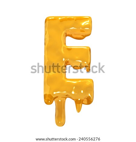 Letter E. Honey alphabet isolated over white. Orange liquid splash alphabet. - stock photo