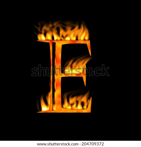 Letter E. Letter symbol. Fire alphabet letter isolated on black. Look for more symbols in my gallery. - stock photo