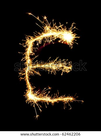 Letter E made of sparkler - stock photo