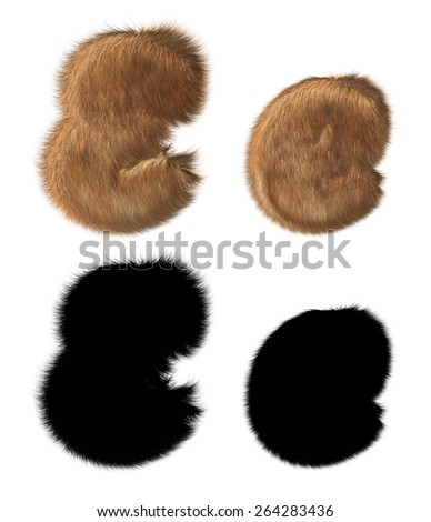 Letter E made out of fur, hair