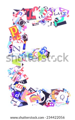 Letter E of with colorful newspaper letters isolated on white - stock photo