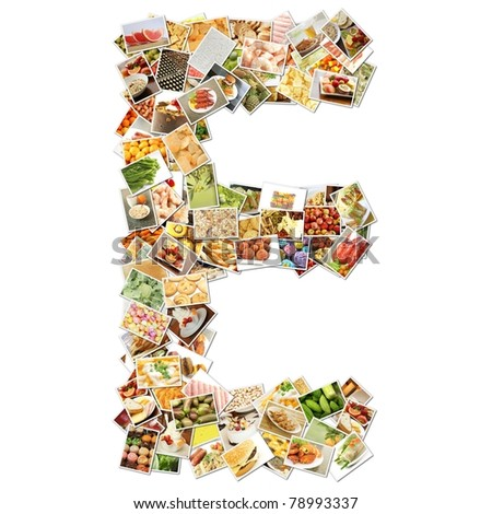 Letter E with Food Collage Concept Art - stock photo