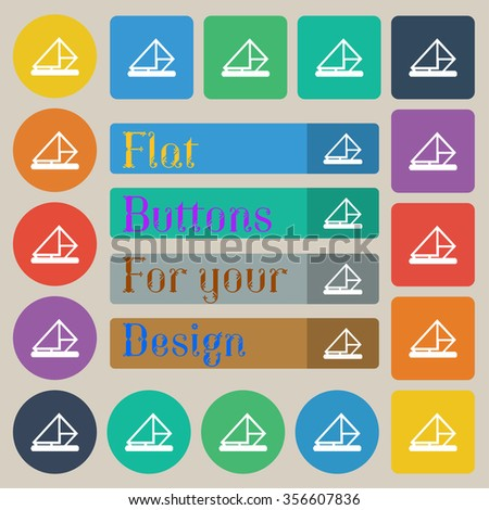 letter, envelope, mail icon sign. Set of twenty colored flat, round, square and rectangular buttons. illustration - stock photo