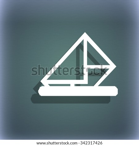 letter, envelope, mail icon symbol on the blue-green abstract background with shadow and space for your text. illustration - stock photo