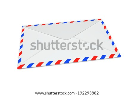 Letter envelope on a white background. 3d image