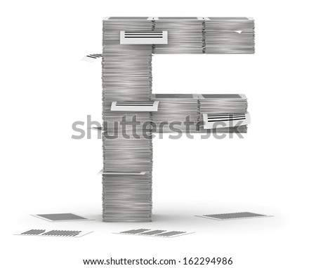 Letter F, from stacks of paper pages font - stock photo