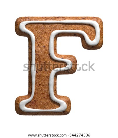 Letter F. Gingerbread font. Christmas cookies alphabet. - stock photo