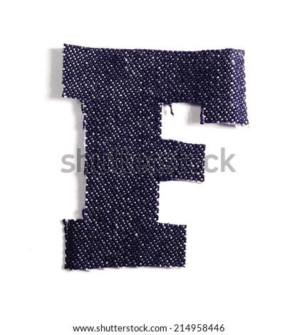 Letter F. Jeans alphabet Isolated on White. Handmade font. - stock photo