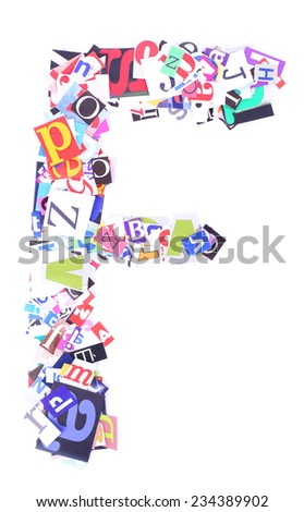 Letter F made of colorful newspaper letters isolated on white - stock photo