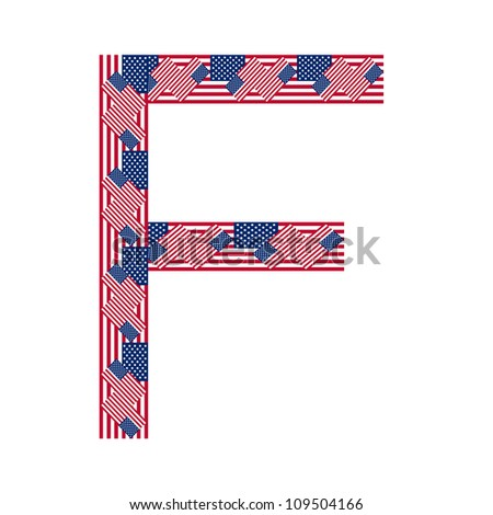 Letter F made of USA flags