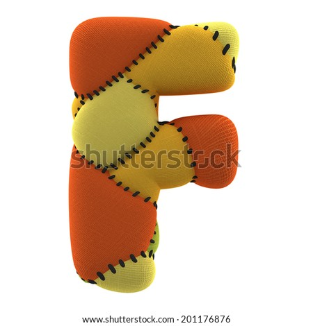 Letter F. Textile toy font  isolated on White Background. - stock photo