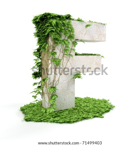 Letter F threads covered with ivy isolated on white background. - stock photo