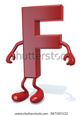 letter F with arms and legs posing, isolated on white 3d illustration - stock photo